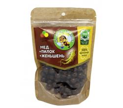 """Натуральные медовые конфеты драже """"Целебная пчелка"""" с женьшенем"""
